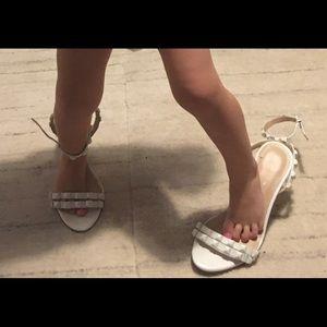 BCBG white high heel sandals